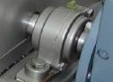 316 stainless steel pillow block bearing mounted on a declumping shellfish processing machine