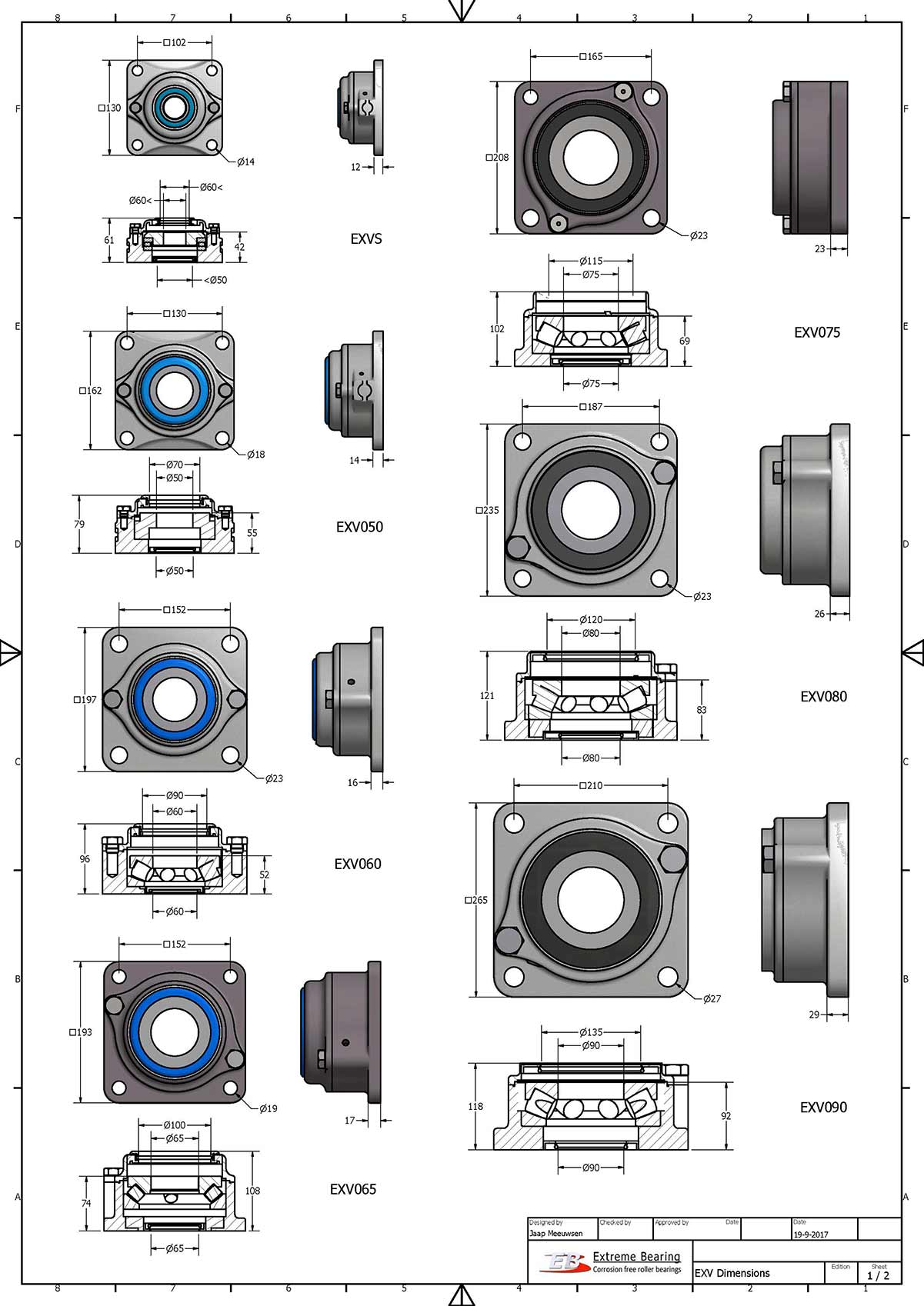 Bearing units made of material stainless steel 316 used for huge vertical loads