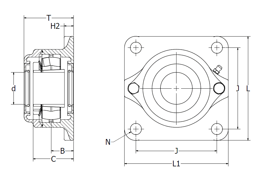 316 stainless steel 4-hole flange bearing