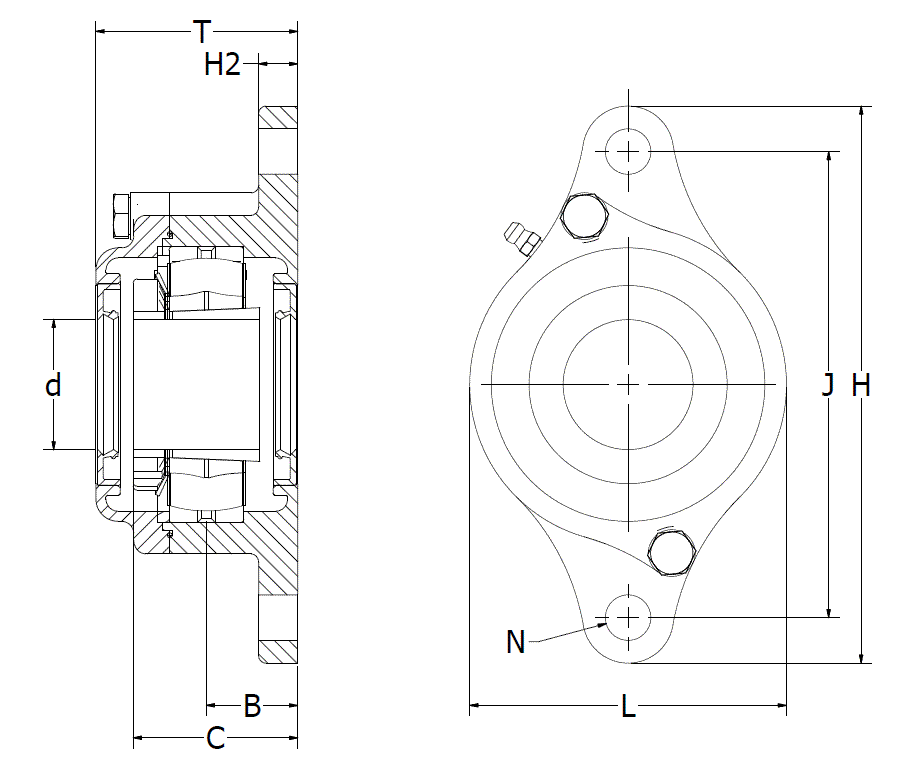 Stainless steel 316 2-bolt flange bearing drawing