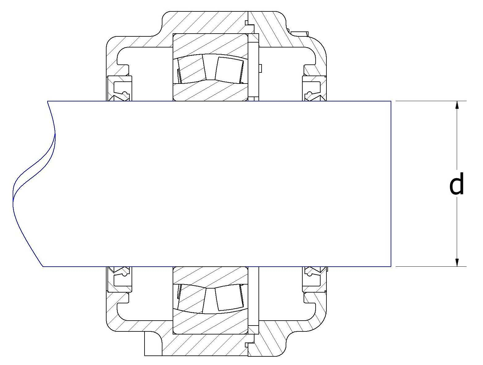 Spherical roller bearing unit wiht cilindrical bearing explanation drawing
